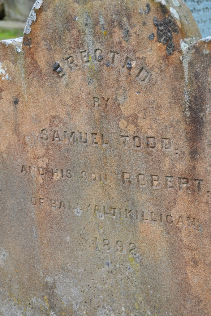 Ballyaltikilligan gravestone for 1892 in Comber