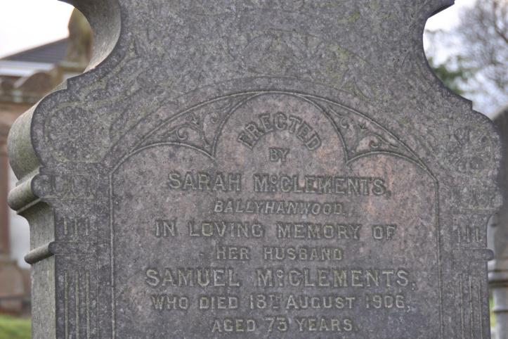 Gilnahirk gravestone McClements of Ballyhanwood