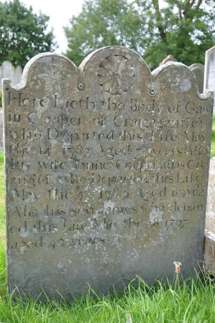 Craigantlet gravestone for Cooper in Movilla (all)