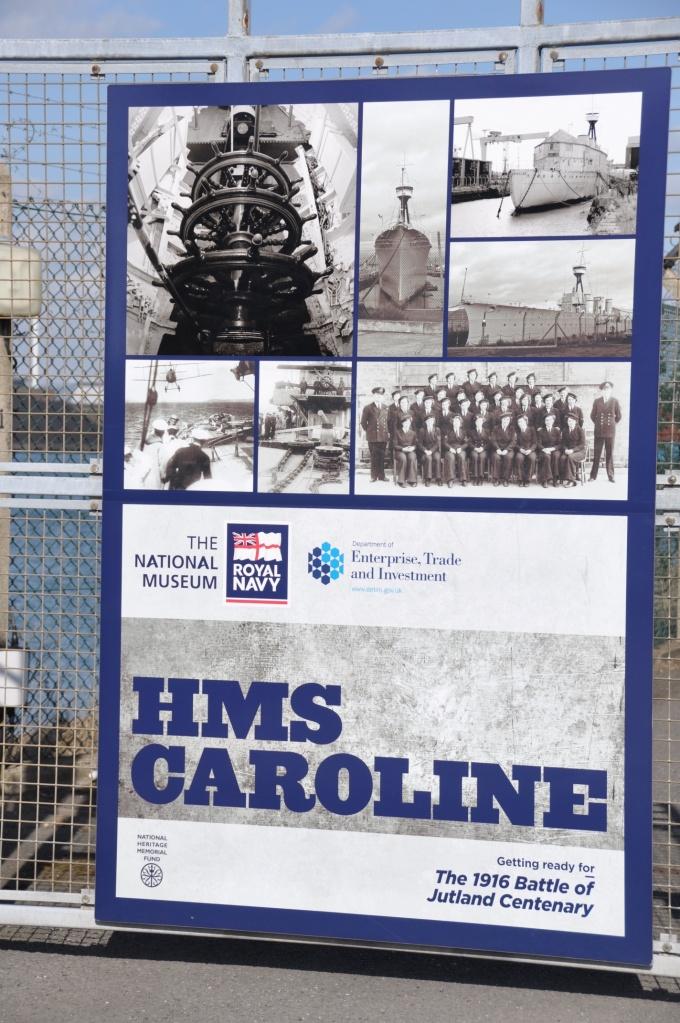 HMS Caroline sign