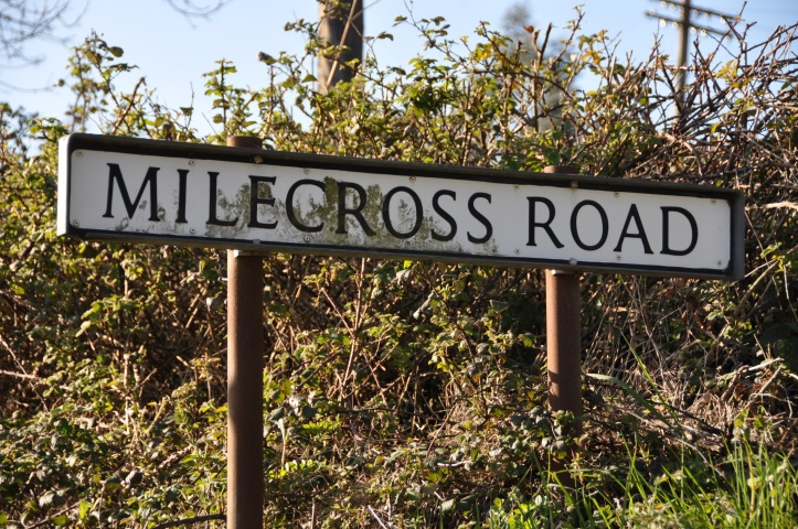 Milecross Road sign