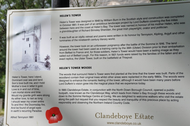 Helen's Tower sign Clandeboye