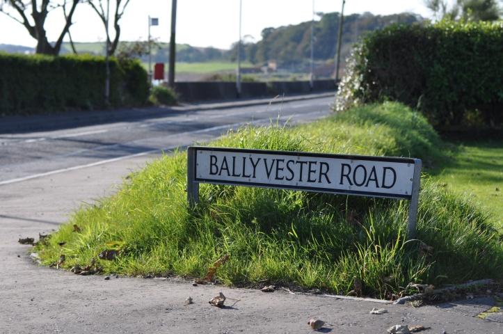 Ballyvester Road sign at shore