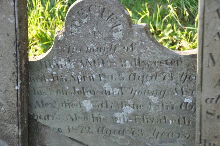 Gravestone for Angus 1867 Ballyvester in Templepatrick