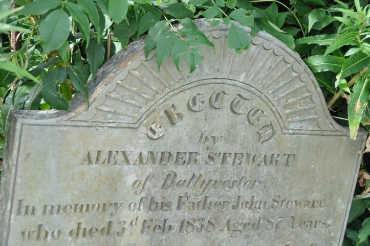 Gravestone for Stewart 1838 Ballyvester in Movilla