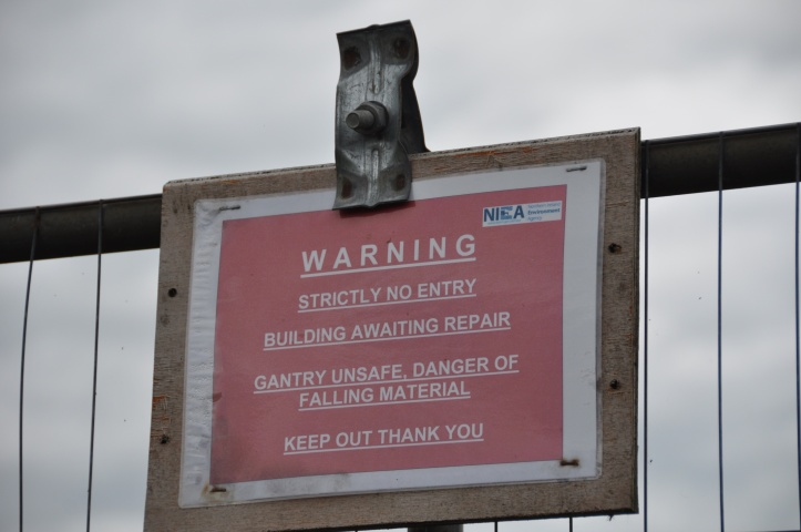 Ballycopeland Windmill warning sign