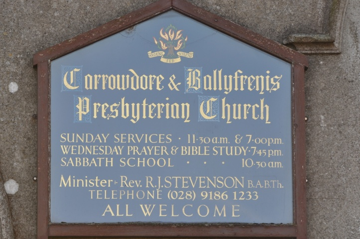 Carrowdore Ballyfrenis church sign