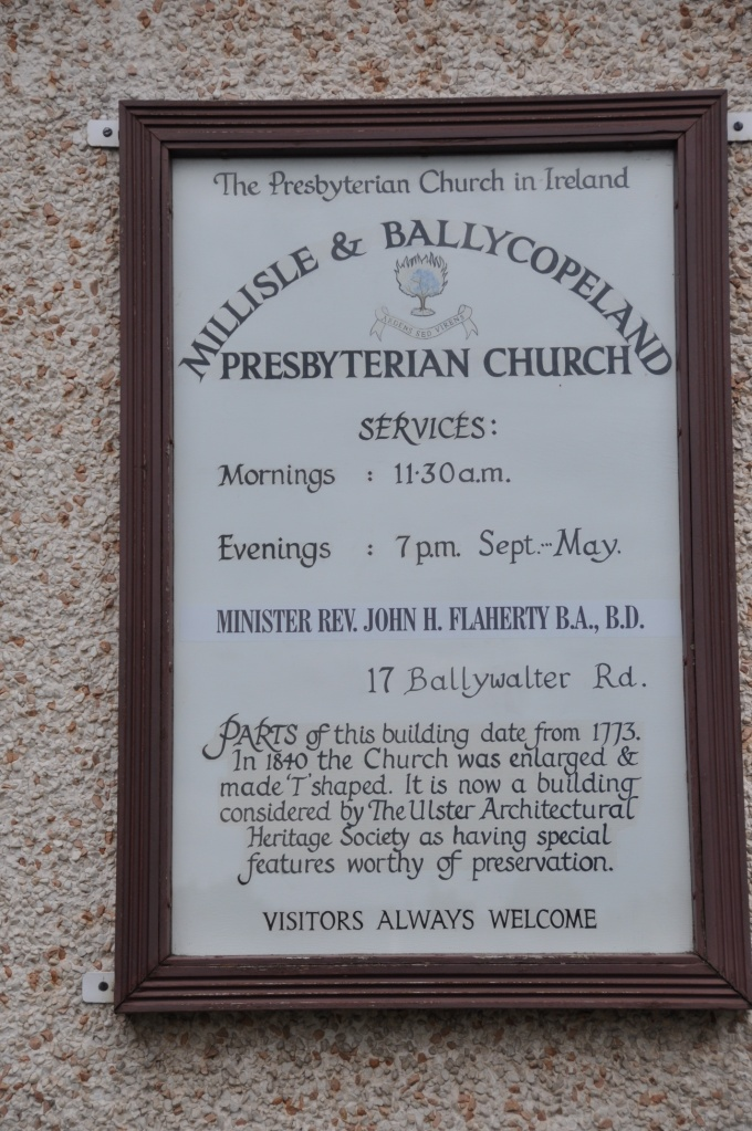 Millisle Presbyterian Church sign