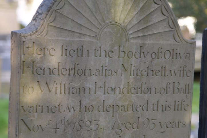 Gravestone for Henderson of Ballyvarnet