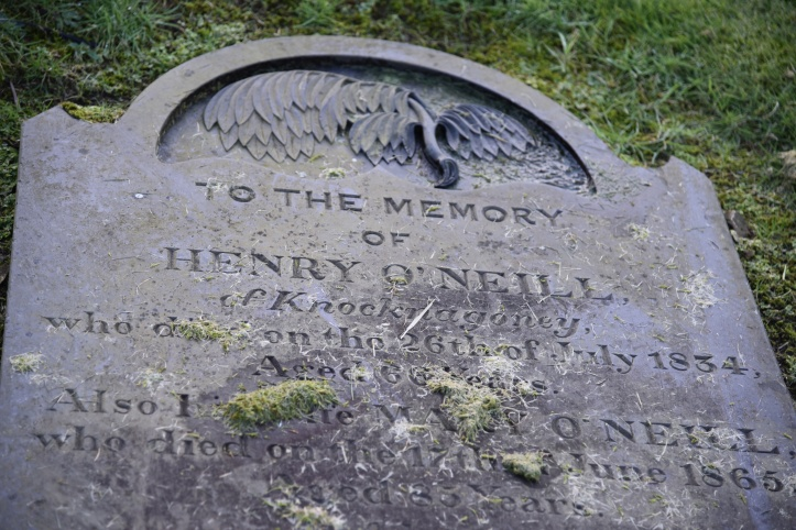 gravestone for O'Neill of Knocknagoney in Holywood
