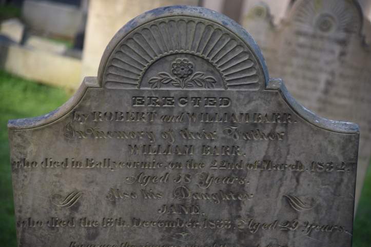 Headstone for Barr of Ballymacormick in Bangor