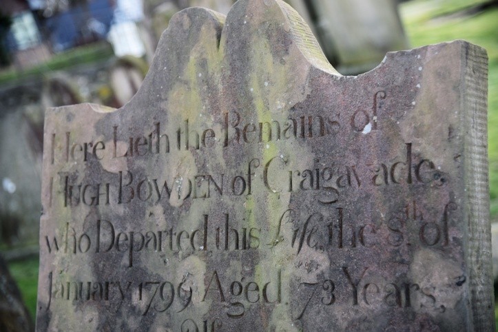 Headstone for Bowden of Craigavad in Holywood