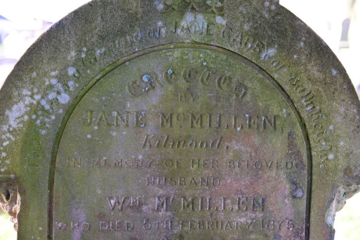 Headstone for McMillen of Kilmood in Kilmood