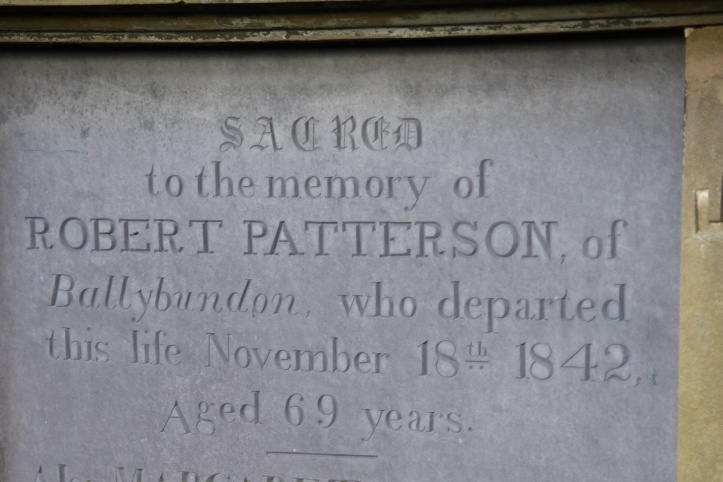 Headstone for Patterson of Ballybunden in Kilmood