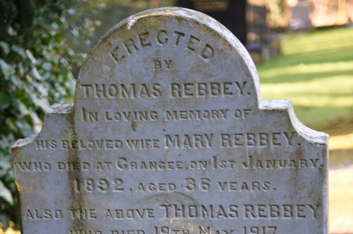 Headstone for Rebbey of Grangee in Carrowdore