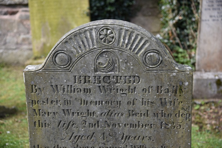 Greyabbey grave for Wright of Ballynester