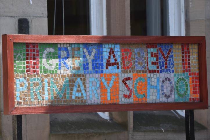 Greyabbey Primary School mosaic sign