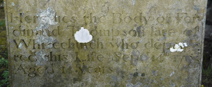 Whitechurch Cemetery headstone for Thompson 1795
