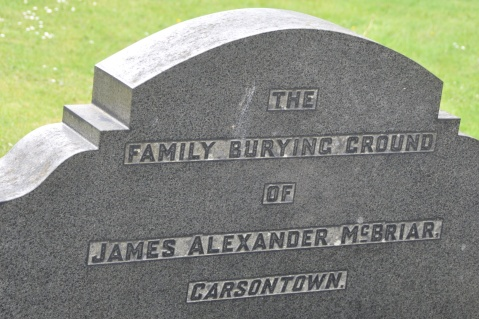 Carsonstown spelled without its second S) on a gravestone in saintfield