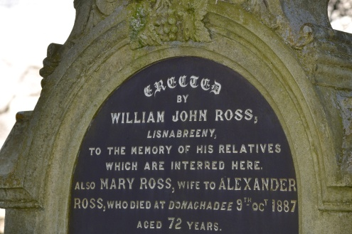 Gravestone in Castlereagh for the Ross family of Lisnabreeny