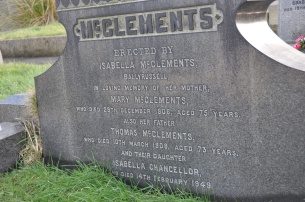 A gravestone in Gilnahirk for the McClements family of Ballyrussell