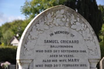 A gravestone in Killinchy for the Crickard family of Ballybundon (now Kilmood & Ballybunden).