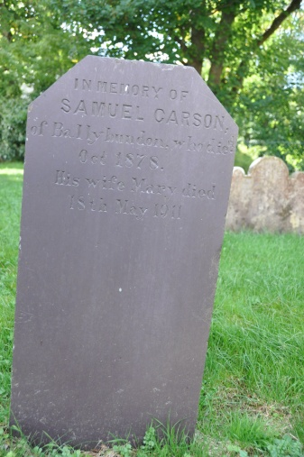 A gravestone in Killinchy for the Carson family of Ballybundon (now Kilmood & Ballybunden)