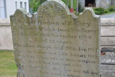 A gravestone in Raffrey churchyard for the Jamison family of Raffrey
