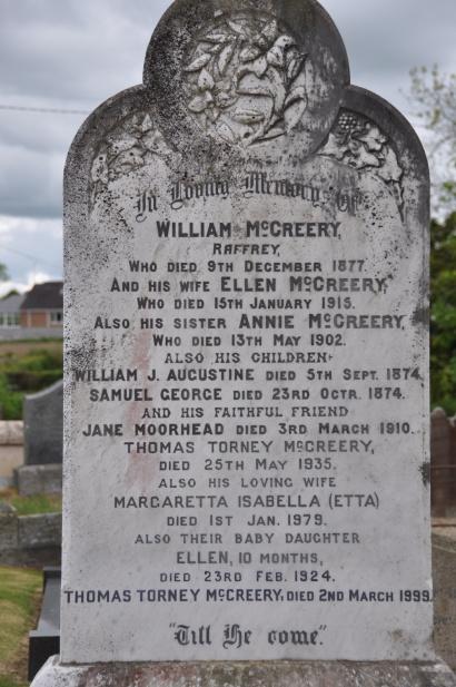 A gravestone in Raffrey churchyard for the McCreery family of Raffrey.