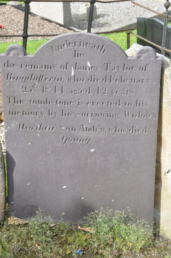 A gravestone in Killyleagh for the Taylor family of Ringdufferin