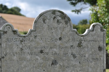 A gravestone in Killaresy for the Wilson family of Ballymorran and Ballygoskin.
