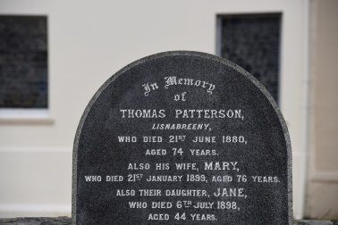 A gravestone in Castlereagh for Patterson of Lisnabreeny