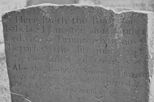 A gravestone in Saintfield for the McMaster family of Drumreagh