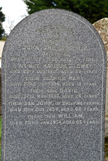 Gravestone in Moneyreagh for Orr of Ballykeel and Ballymecashin