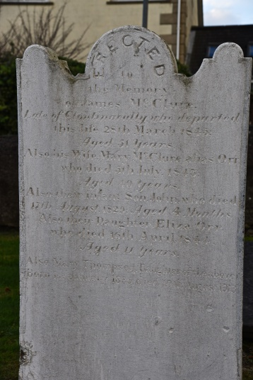 Gravestone in Moneyreagh for McClure of Clontonacally