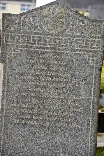 Gravestone in Moneyreagh for Grant of Ballyknockan