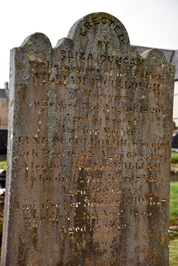Gravestone in Moneyreagh for Duncan and McCullough of Moneyrea
