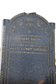 Gravestone in Moneyreagh for Smyth of Crossnacreevy