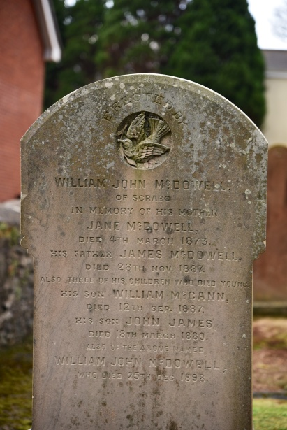 Gravestone in Moneyreagh for McDowell of Scrabo